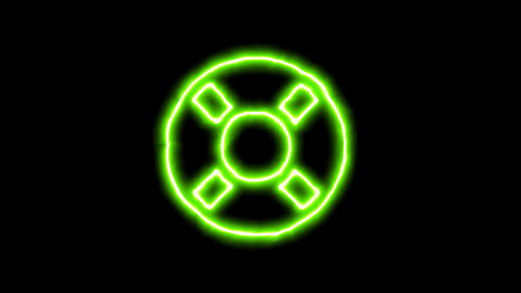 The appearance of the green neon symbol life ring. Flicker, In - Out. Alpha Animation