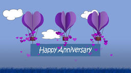 Animated heart shape balloons with happy anniversary banner Animación
