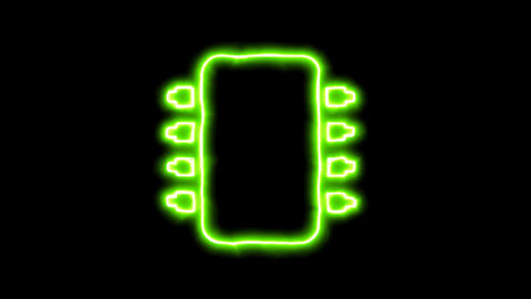 The appearance of the green neon symbol microchip. Flicker, In - Out. Alpha Animation