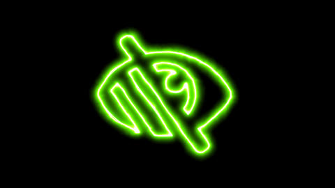 The appearance of the green neon symbol low vision. Flicker, In - Out. Alpha Animation