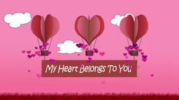 Animated heart shape balloons with my heart belongs to you banner Animation
