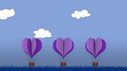 Animated heart shape balloons against a blue background Stock Video Footage