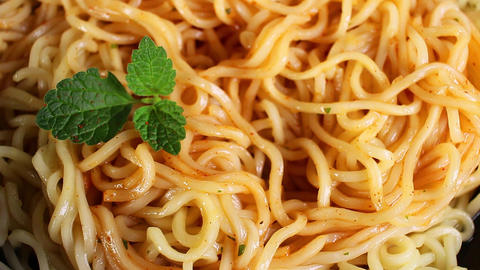 Instant pasta fast food noodles seamless looping background closeup video 영상물