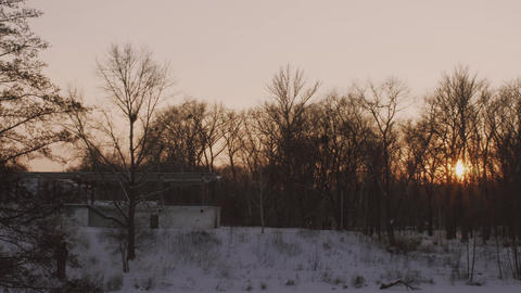 Evening time, sunset in a winter park. Smooth panning Archivo