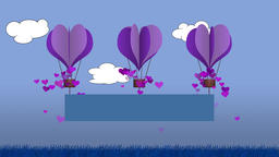 Animated heart shape balloons with blank banner for own message Animation