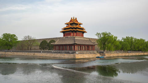 Corner Tower of Forbidden city time lapse in Beijing, China Live Action