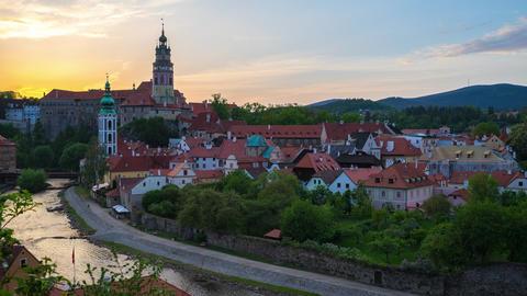 Sunset in Cesky Krumlov skyline time lapse in Czech Republic Live Action