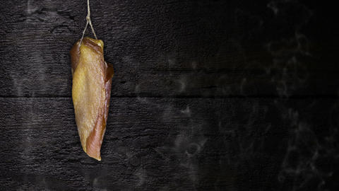 Chicken Meat Hanging On The Rope Against Rustic Wooden Background Animation
