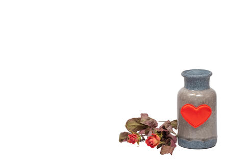 Vase with red heart and the dry roses isolated Fotografía