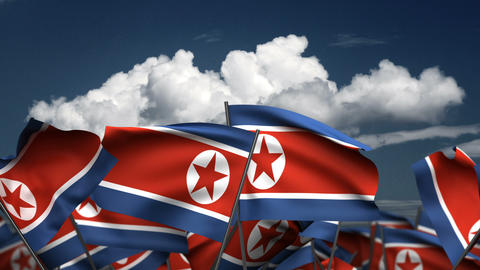 Waving North Korea Flags Animation