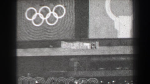 1968: Rings Gymnastics competition logo sign Summer Olympic Games Footage