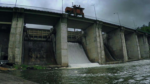 River old hydro electric concrete industrial dam power plant Live Action