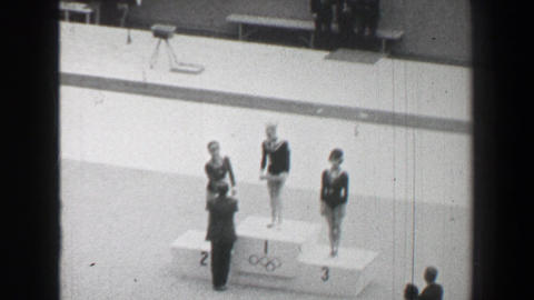 1968: Gold medal awards ceremony women's vault gymnastics Summer Olympic Games Footage