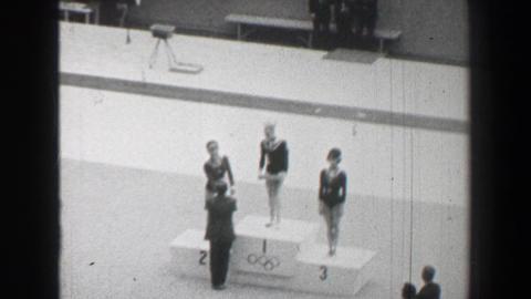 1968: Gold medal awards ceremony women's vault gymnastics Summer Olympic Games Footage