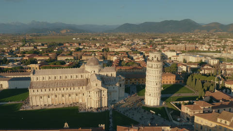 Aerial hyperlapse of famous Leaning Tower of Pisa. Tuscany, Italy GIF