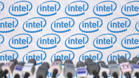 News conference of INTEL, press wall with logo as a background and mics Footage