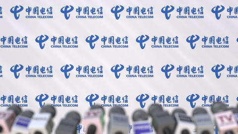 Media event of CHINA TELECOM, press wall with logo and microphones, editorial Footage