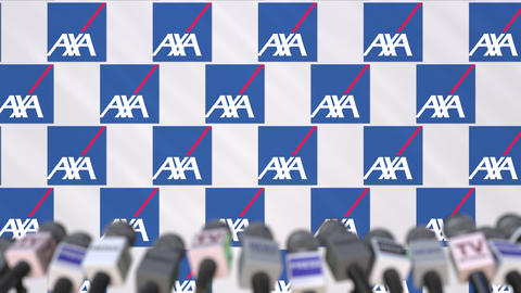 Press conference of AXA, press wall with logo and microphones, conceptual Footage