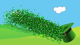 Happy St Patricks day animation with had shamrock and rainbow Animation