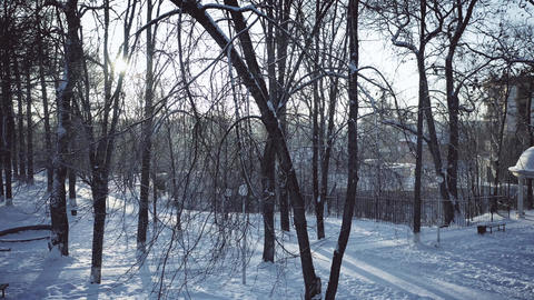 Aerial view of park in snow against shining sun Footage