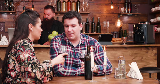 Couple spending a romantic evening in vintage pub or restaurant Footage