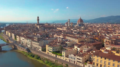 Aerial panoramic view of cityscape in Florence, Italy. Cathedral di Santa Maria Footage