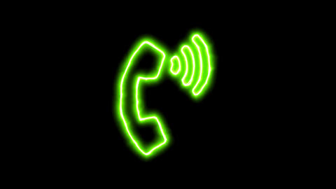 The appearance of the green neon symbol phone volume. Flicker, In - Out. Alpha Animation