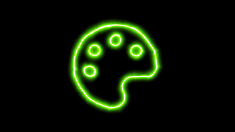 The appearance of the green neon symbol palette. Flicker, In - Out. Alpha Animation