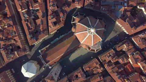 Aerial view. top view of the cathedral Florence, tuscany, Italy. Flying over the Footage