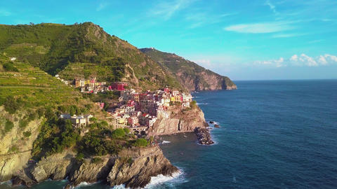 Aerial view of Cinque terre, five lands Live Action