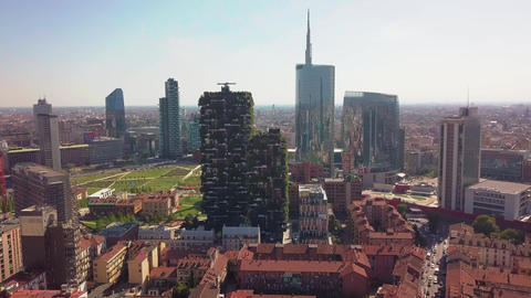 Milan, Italy - September 26, 2018: Aerial view. Modern and ecologic skyscrapers Footage