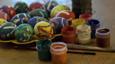 Painting Easter eggs00004 Footage