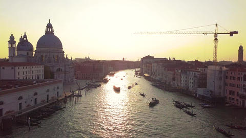 Panoramic aerial view of Venice,with rooftops, the sea at sunset, Veneto, Italy Live Action
