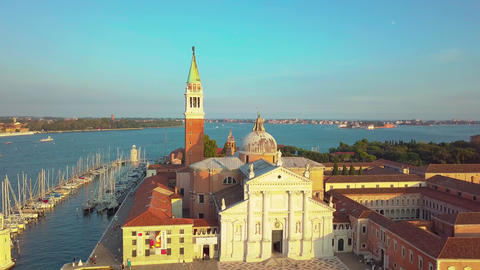Venice Cityscape Aerial View Grand Canal San Marco Bell Tower Mark Square Italy Live Action