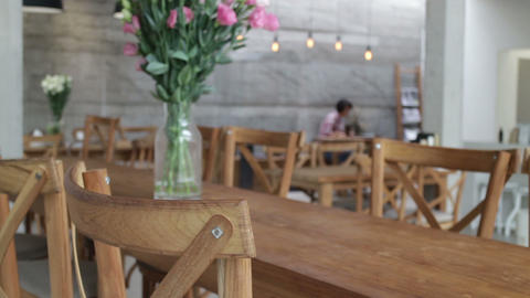 Hipster lifestyle blurred in coffee shop background Stock Video Footage