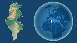 Tunisia and Globe. Relief Animation