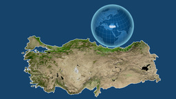 Turkey and Globe. Satellite Animation