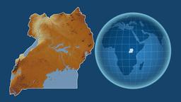 Uganda and Globe. Relief Animation
