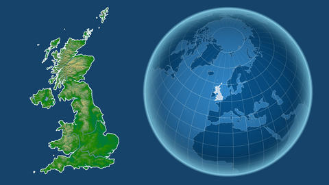 United Kingdom and Globe. Bumps shaded Animation