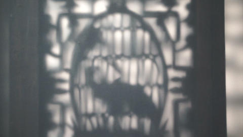 Sun cast shadow on ornament of ancient Chinese architecture detail. Abstract background of Asia ビデオ