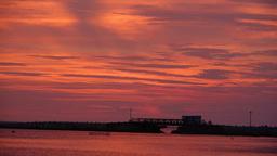 Sunset with view of bridge and dam,Jaffna,Sri Lanka Footage