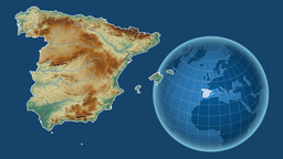 Spain and Globe. Relief Animation