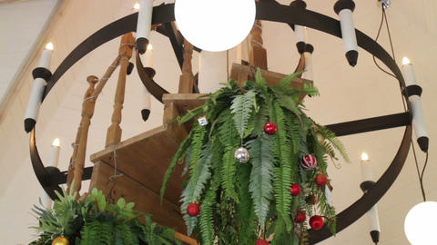 Christmas ball and hanging fern decorated in living room Footage