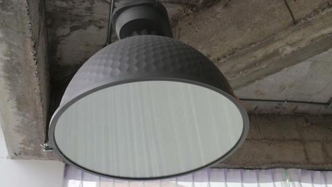 Modern black metal lamp hanging on ceiling Live Action