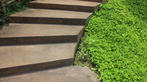 Step up on staircase outdoor garden Footage