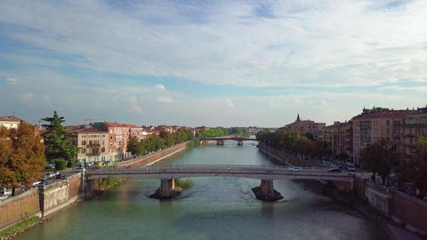Verona Italy Skyline Aerial view from sky, video in 4K, Italy. Aerial view of Live Action