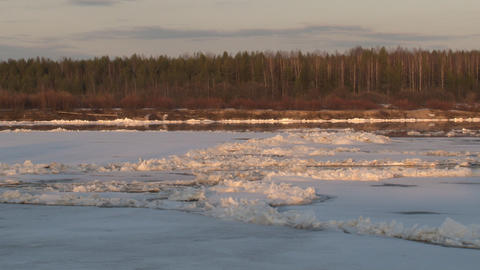 The ice is broken and floats on the river Footage