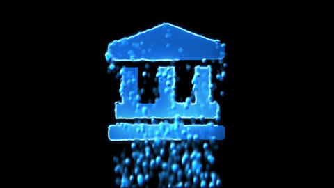 Liquid symbol landmark appears with water droplets. Then dissolves with drops of CG動画
