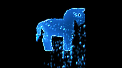 Liquid symbol horse appears with water droplets. Then dissolves with drops of Animation