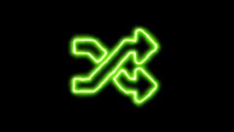 The appearance of the green neon symbol random. Flicker, In - Out. Alpha channel Animation